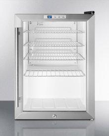 Commercially Approved Countertop Beverage Cooler With Glass Door, Stainless Steel Cabinet, Front Lock, and Digital Thermostat; Replaces Scr310lcss