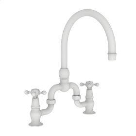 Matte White Kitchen Bridge Faucet
