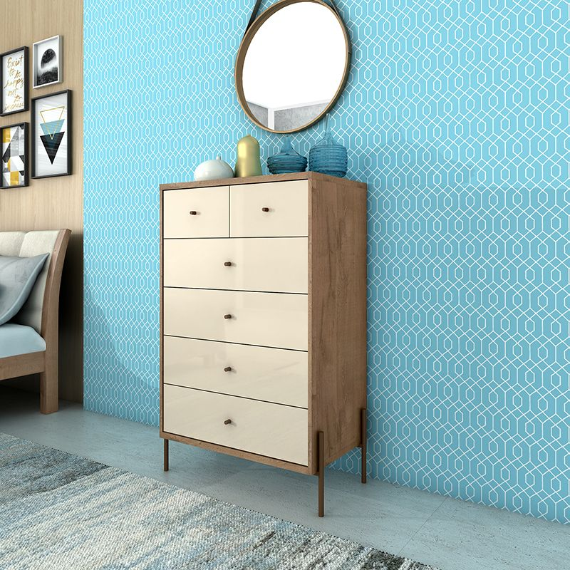 """Joy 48.43"""" Tall Dresser with 6 Full Extension Drawers in Off White"""