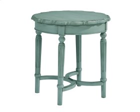 French Blue Pie Crust Side Table - Short