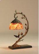 FINELY CAST VERDIGRIS PATINA B RASS BIRDS ON LIMB LAMP, INLAI D PENSHELL SHADE Product Image