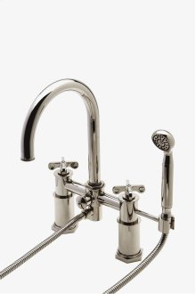 Henry Exposed Deck Mounted Tub Filler With Handshower and Metal Cross Handles STYLE: HNXT40