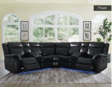 "Levin Power Left Arm Loveseat LED Strip Black 68""x36""x40"""