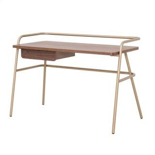 Zander KD Desk Champagne Gold Legs, Walnut