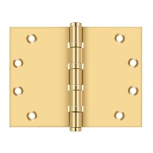 "4 1/2""x 6"" Square Corner Hinge, Ball Bearing - PVD Polished Brass"