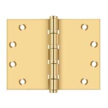 "4 1/2""x 6"" Square Corner Hinge, Ball Bearing - PVD Polished Brass"