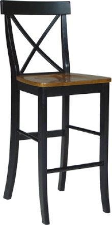 "30"" X Back Stool Cherry & Black"