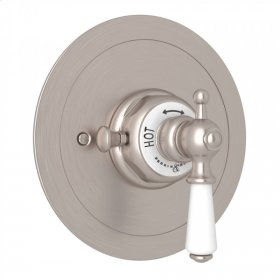 Satin Nickel Perrin & Rowe Edwardian Era Round Thermostatic Trim Plate Without Volume Control with Metal Lever
