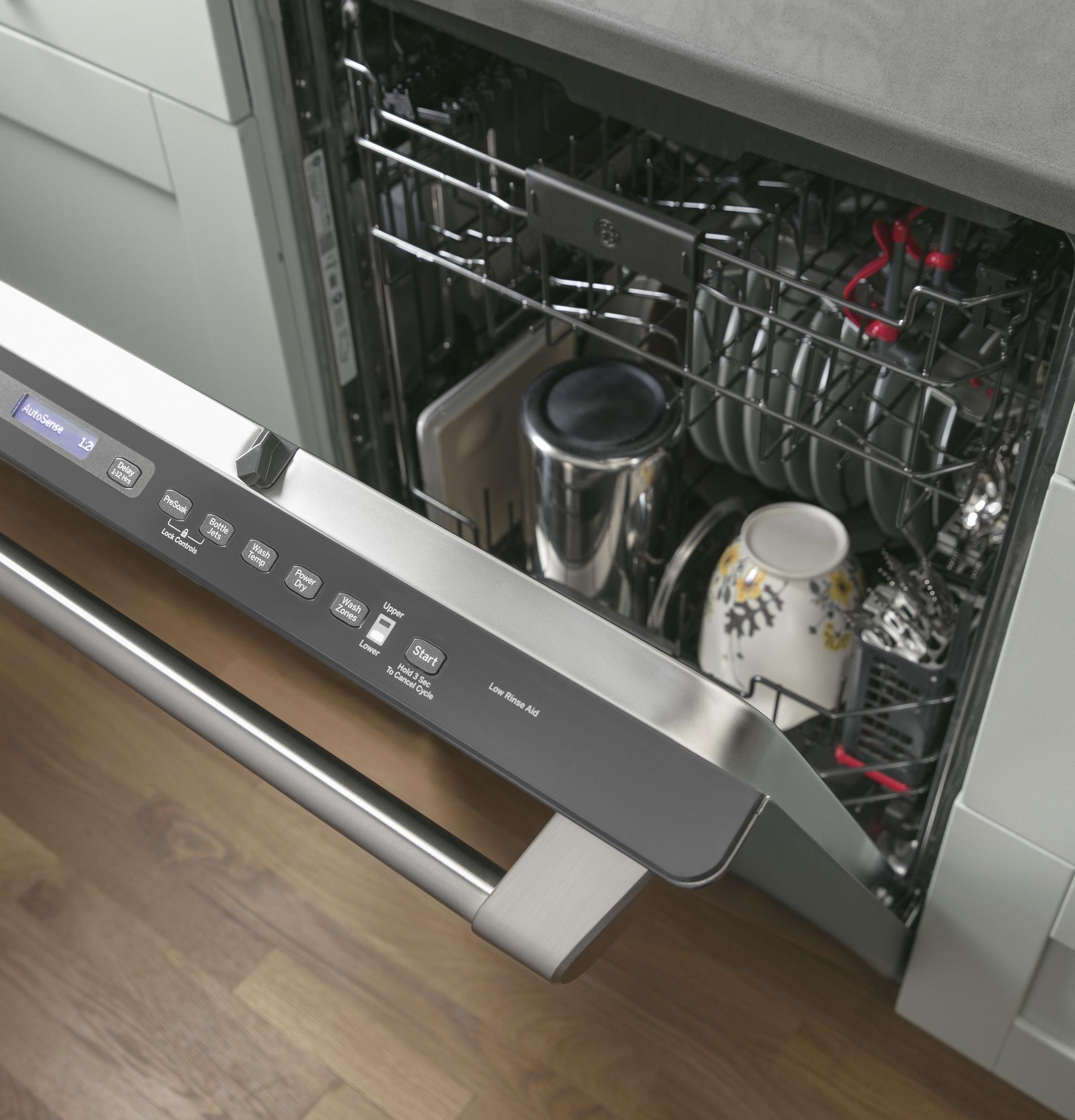 additional ge cafe series stainless interior builtin dishwasher with hidden controls