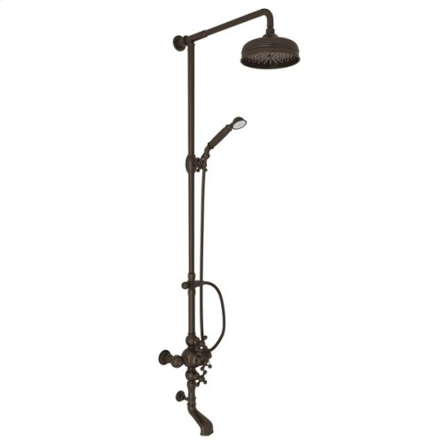 Tuscan Brass Arcana Exposed Wall Mount Thermostatic Tub/Shower With Volume Control with Arcana Series Only Cross Handle