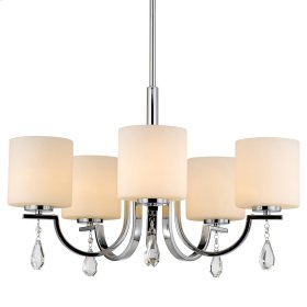 Evette 5 Light Chandelier in Chrome with Opal Glass