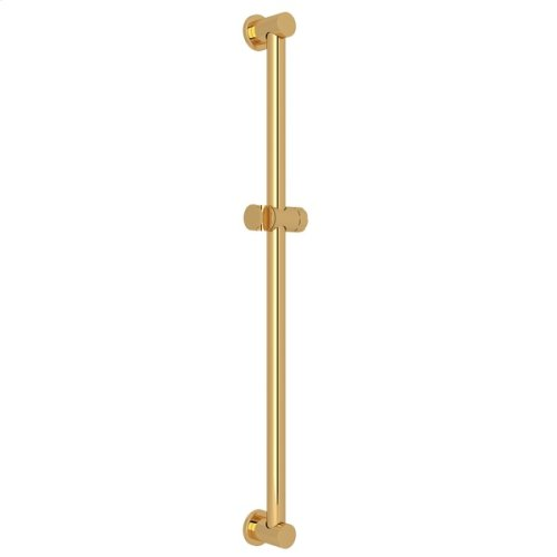 "Italian Brass 36"" Decorative Grab Bar With Knob Handle Slider"