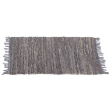 Grey Leather Chindi 2'x3' Rug (Each One Will Vary)