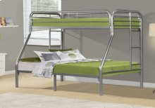 BUNK BED - TWIN / FULL SIZE / SILVER METAL