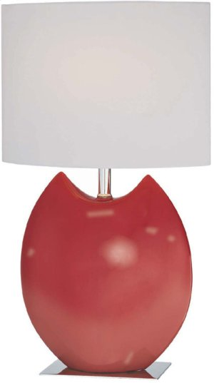 Ceramic Table Lamp, Red/off-white Fabric Shd, E27 Cfl 13w
