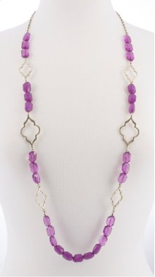 BTQ Burnished Gold and Purple Beaded Necklace