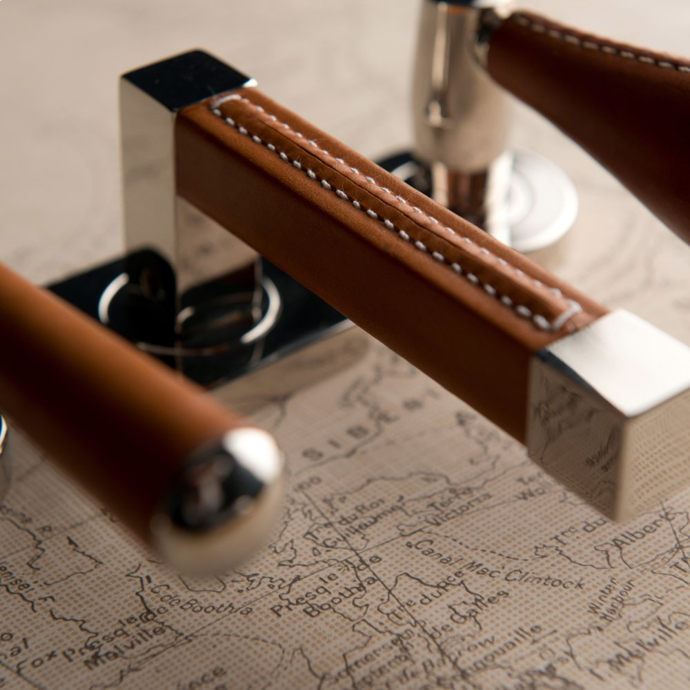 Additional Square Stitch Out Recess Leather In White (special Order) And Fine Antique Brass