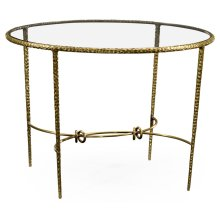 Hammered Light Brown Brass Circular Centre Table