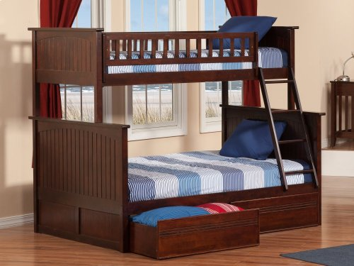 Nantucket Bunk Bed Twin over Full with Flat Panel Bed Drawers in Walnut