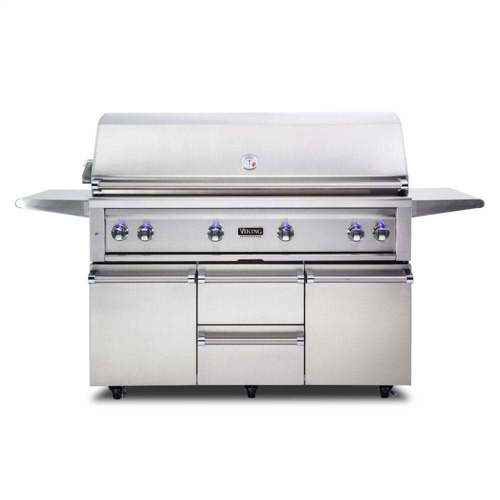 "54""W. Freestanding Grill with ProSear Burner and Rotisserie, Propane Gas