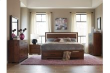 California King Platform Bed with Footboard Storage, LED Lighting