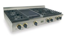 """48"""" Gas Cooktop, Sealed Burners, Stainless Steel with Brass"""