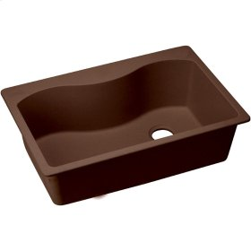 "Elkay Quartz Classic 33"" x 22"" x 9-1/2"", Single Bowl Top Mount Sink, Pecan"