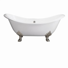 """Marshall 71"""" Cast Iron Double Slipper Tub - No Faucet Holes - Brushed Nickel"""