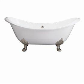 "Marshall 71"" Cast Iron Double Slipper Tub - No Faucet Holes - Black"