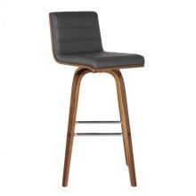 "Armen Living Vienna 30"" Barstool in Walnut Wood finish with Gray Pu upholstery"