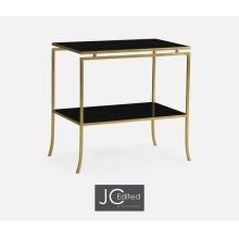 Gilded Iron Rectangular Side Table with A Black Glass Top