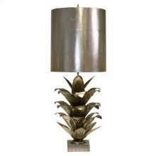 Silver Leaf Brutalist Palm Table Lamp With Silver Metal Shade