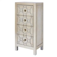 Silvestro Distressed Small Cabinet 4 Drawers, Antique Champagne