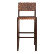 Paxton Woven Leather Barstool - Cognac
