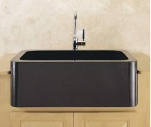 Polished Front Farmhouse Sinks Black Granite