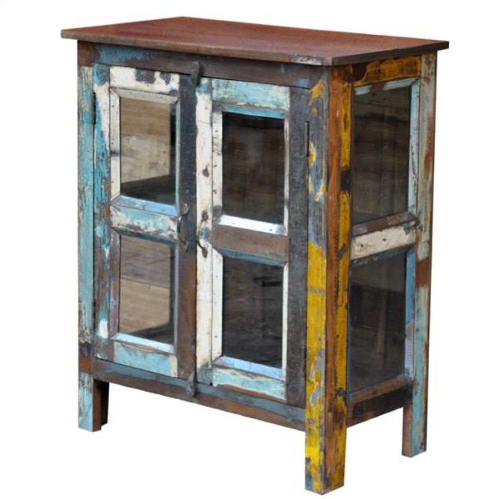 Painted 2 Glass Door Glass Side Cabinet