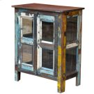 Painted 2 Glass Door Glass Side Cabinet Product Image