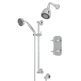 Polished Chrome Deco U.KIT56LS Thermostatic Shower Package with Cross Handle
