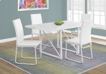 """DINING TABLE - 36""""X 60"""" / WHITE GLOSSY / WHITE METAL"""