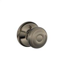 Georgian Knob Non-turning Lock - Antique Pewter