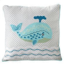 Embroidered Whale Pillow.