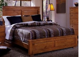 5/0 Queen Panel Bed - Cinnamon Pine Finish