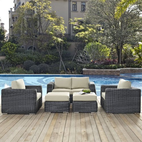 Summon 5 Piece Outdoor Patio Sunbrella® Sectional Set in Canvas Antique Beige