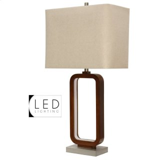 Wellwood Inner LED Table Lamp with Brushed Steel Base & Hardback Shade