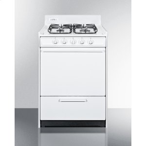 """Summit24"""" Wide Gas Range In White With Sealed Burners and Electronic Ignition; Replaces Wnm6107f"""