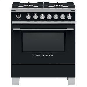 "Fisher & PaykelDual Fuel Range, 30"", 4 Burners, Self-cleaning"