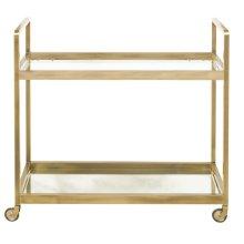 Brushed Gold & Glass Bar Cart