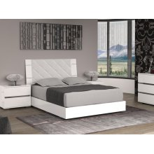 The Diamanti King Light Gray Eco-leather Headboard And High Gloss White Lacquer Bed