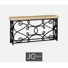 "72"" Width Rectangular Limed Wood Console with Wrought Iron Base"