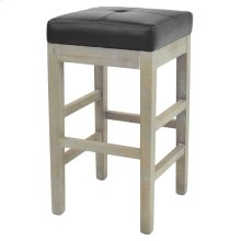 Valencia Bonded Leather Backless Counter Stool Mystique Gray Legs, Black